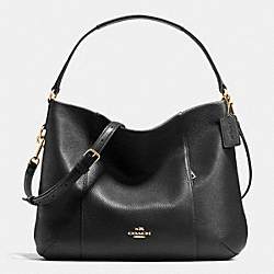 COACH EAST/WEST ISABELLE SHOULDER BAG IN PEBBLE LEATHER - LIGHT GOLD/BLACK - F35809