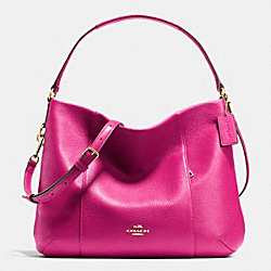 COACH EAST/WEST ISABELLE SHOULDER BAG IN PEBBLE LEATHER - IMITATION GOLD/CRANBERRY - F35809