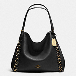 COACH JUMBO EDIE SHOULDER BAG IN WHIPLASH LEATHER - LIGHT GOLD/BLACK - F35819