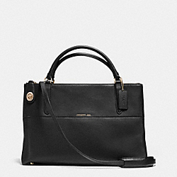BOROUGH BAG IN CROSSGRAIN LEATHER - LIGHT GOLD/BLACK - COACH F35833