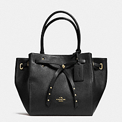 TURNLOCK TIE SMALL TOTE IN REFINED PEBBLE LEATHER - f35838 - LIGHT GOLD/BLACK/BLACK