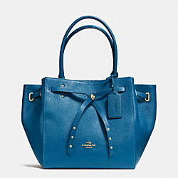 COACH TURNLOCK TIE SMALL TOTE IN REFINED PEBBLE LEATHER - LIABV - F35838