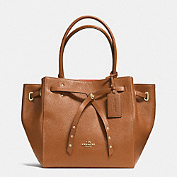 COACH TURNLOCK TIE SMALL TOTE IN REFINED PEBBLE LEATHER - LIE1H - F35838