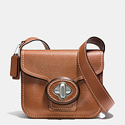 COACH DRIFTER SHOULDER BAG IN PEBBLE LEATHER - WARM ROLLER NICKEL/SADDLE - F35853