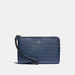CORNER ZIP WRISTLET WITH LEGACY PRINT - NAVY/SILVER - COACH F35869