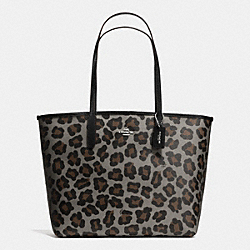 COACH CITY TOTE IN OCELOT PRINT COATED CANVAS - SILVER/GREY MULTI - F35874