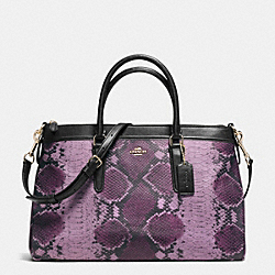 MORGAN SATCHEL IN PYTHON EMBOSSED LEATHER - f35881 - IMITATION GOLD/PLUM