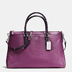 MORGAN SATCHEL IN EXOTIC TRIM LEATHER - SILVER/PLUM - COACH F35887