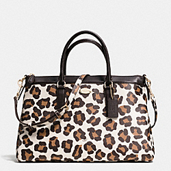 COACH MORGAN SATCHEL IN OCELOT PRINT COATED CANVAS - LIGHT GOLD/CHALK MULTI - F35890