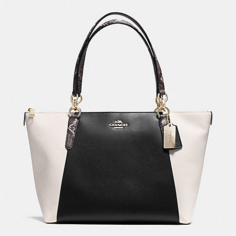 COACH f35891 AVA TOTE IN EXOTIC TRIM LEATHER LIGHT GOLD/BLACK/WHITE
