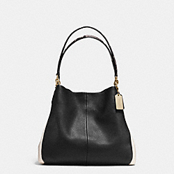 PHOEBE SHOULDER BAG IN EXOTIC TRIM LEATHER - f35893 - LIGHT GOLD/BLACK/WHITE