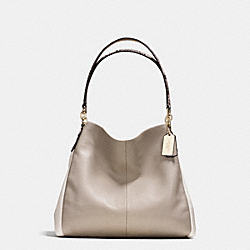 COACH PHOEBE SHOULDER BAG IN EXOTIC TRIM LEATHER - IMITATION GOLD/GREY BIRCH/CHALK - F35893