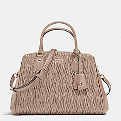 COACH SMALL MARGOT CARRYALL IN TWISTED GATHERED LEATHER - LIGHT GOLD/STONE - F35910