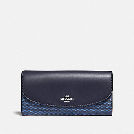 COACH SLIM ENVELOPE WALLET WITH LEGACY PRINT - NAVY/SILVER - F35924