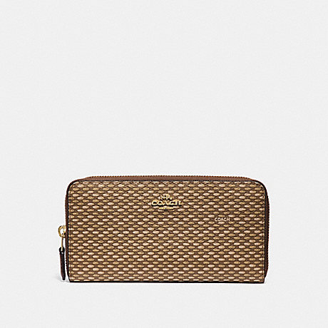 COACH ACCORDION ZIP WALLET WITH LEGACY PRINT - NEUTRAL/LIGHT GOLD - F35925