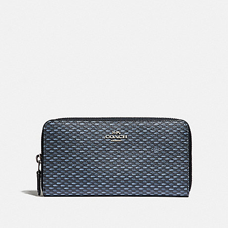 COACH ACCORDION ZIP WALLET WITH LEGACY PRINT - NAVY/SILVER - F35925