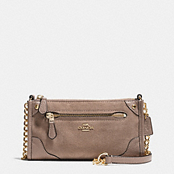 COACH MICKIE CROSSBODY IN SUEDE - LIGHT GOLD/STONE - F35927