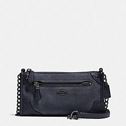 COACH MICKIE CROSSBODY IN SUEDE - ANTIQUE NICKEL/MIDNIGHT - F35927