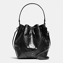 COACH MICKIE DRAWSTRING SHOULDER BAG IN EXOTIC LEATHER - ANTIQUE NICKEL/BLACK - F35928