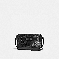 COACH BLAKE CROSSBODY IN EXOTIC EMBOSSED MIX LEATHER - ANTIQUE NICKEL/BLACK - F35930