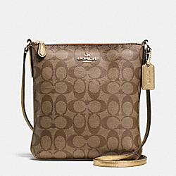 COACH NORTH/SOUTH CROSSBODY IN SIGNATURE - IMITATION GOLD/KHAKI/GOLD - F35940