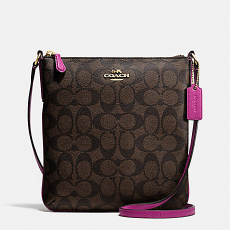 COACH f35940 NORTH/SOUTH CROSSBODY IN SIGNATURE IMITATION GOLD/BROWN/FUCHSIA