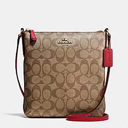 COACH NORTH/SOUTH CROSSBODY IN SIGNATURE - IMITATION GOLD/KHAKI - F35940