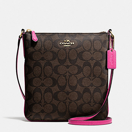 COACH f35940 NORTH/SOUTH CROSSBODY IN SIGNATURE IMITATION GOLD/BROWN/PINK RUBY