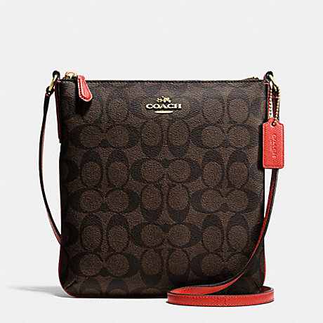 COACH f35940 NORTH/SOUTH CROSSBODY IN SIGNATURE IMITATION GOLD/BROWN/CARMINE