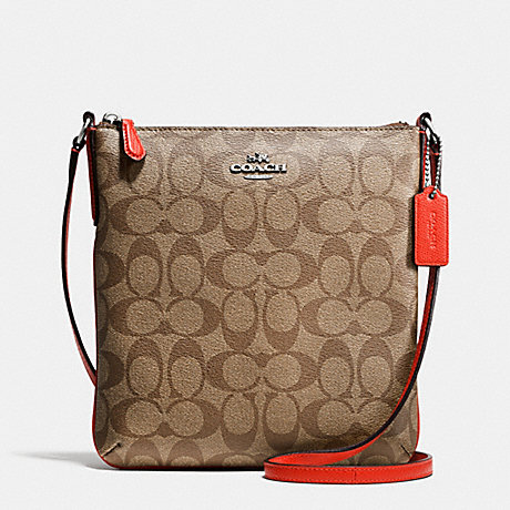 COACH f35940 NORTH/SOUTH CROSSBODY IN SIGNATURE SILVER/KHAKI/ORANGE