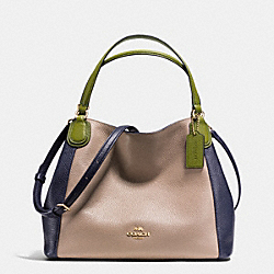 COACH EDIE SHOULDER BAG 28 IN COLORBLOCK LEATHER - LIGHT GOLD/STONE - F35961