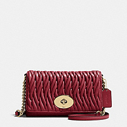 CROSSTOWN CROSSBODY IN GATHERED LEATHER - f35970 - LIGHT GOLD/BLACK CHERRY