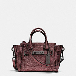 COACH SWAGGER 20 IN METALLIC PEBBLE LEATHER - BLACK ANTIQUE NICKEL/METALLIC CHERRY - COACH F35990