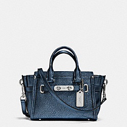 COACH COACH SWAGGER 20 IN METALLIC PEBBLE LEATHER - SILVER/METALLIC BLUE - F35990