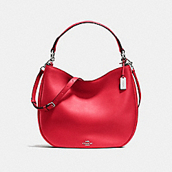 COACH NOMAD HOBO IN GLOVETANNED LEATHER - f36026 - SILVER/TRUE RED