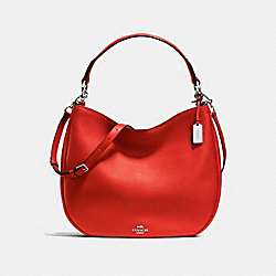 COACH NOMAD HOBO IN GLOVETANNED LEATHER - f36026 - SILVER/CARMINE