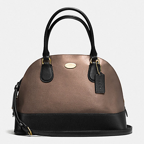 COACH f36057 CORA DOMED SATCHEL IN BICOLOR METALLIC CROSSGRAIN LEATHER IME8Y