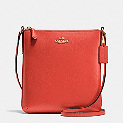 NORTH/SOUTH CROSSBODY IN CROSSGRAIN LEATHER - f36063 - IMITATION GOLD/CARMINE