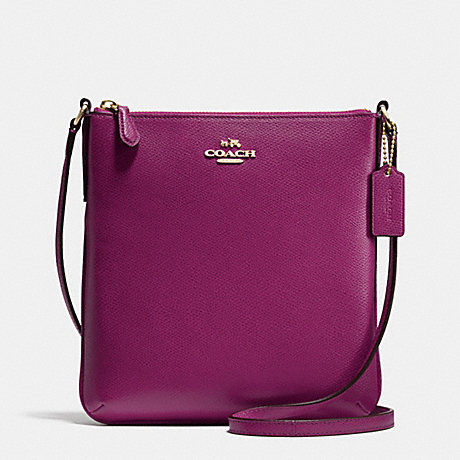 COACH NORTH/SOUTH CROSSBODY IN CROSSGRAIN LEATHER - IMITATION GOLD/FUCHSIA - f36063