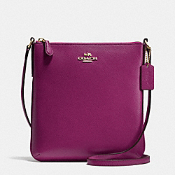 NORTH/SOUTH CROSSBODY IN CROSSGRAIN LEATHER - f36063 - IMITATION GOLD/FUCHSIA