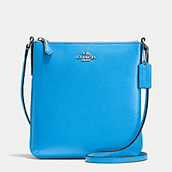 NORTH/SOUTH CROSSBODY IN CROSSGRAIN LEATHER - f36063 - SILVER/AZURE