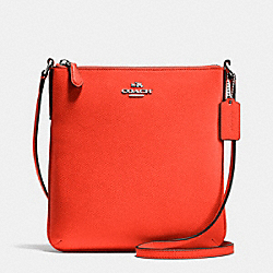 COACH NORTH/SOUTH CROSSBODY IN CROSSGRAIN LEATHER - SILVER/ORANGE - F36063