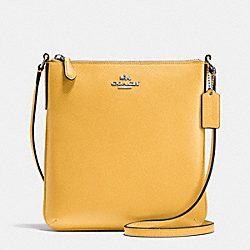 NORTH/SOUTH CROSSBODY IN CROSSGRAIN LEATHER - f36063 - SILVER/CANARY