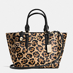CROSBY CARRYALL IN WILD BEAST PRINT LEATHER - f36093 - LIGHT GOLD/WILD BEAST