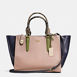 CROSBY CARRYALL IN COLORBLOCK LEATHER - f36094 - LIGHT GOLD/STONE