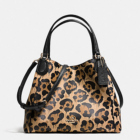 COACH f36102 EDIE SHOULDER BAG 28 IN POLISHED PEBBLE LEATHER WITH WILD BEAST PRINT LIGHT GOLD/WILD BEAST