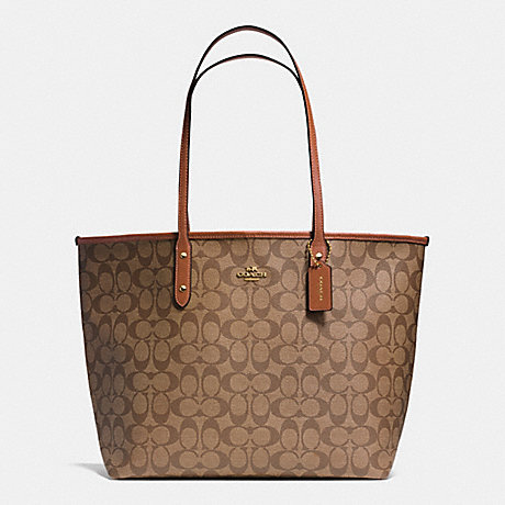 COACH CITY TOTE IN SIGNATURE COATED CANVAS - LIGHT GOLD/KHAKI/SADDLE - f36126