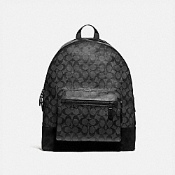 WEST BACKPACK IN SIGNATURE CANVAS - CHARCOAL/BLACK/MATTE BLACK - COACH F36137