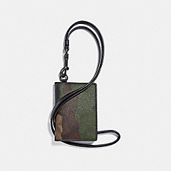 COACH ID CARD CASE LANYARD IN SIGNATURE CANVAS WITH CAMO PRINT - MAHOGANY/DARK GREEN CAMO/BLACK ANTIQUE NICKEL - F36138