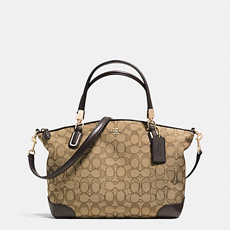 COACH SMALL KELSEY SATCHEL IN SIGNATURE WITH LEATHER TRIM -  LIGHT GOLD/KHAKI/BROWN - f36181